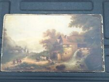 19th century Dutch oil painting on board. Church, Farm, Cows, Water mill, scene