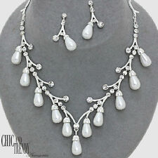 CLEARANCE WHITE PEARL & CRYSTALS CASUAL, WEDDING FORMAL NECKLACE JEWELRY SET