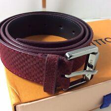 """Authentic Louis Vuitton Suede Mini Damier Belt. Size 90. 32-34"""".Ex Cond. CA2163"""