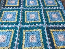 "Baby Boy's Blue Dreams Crib Blanket. 38"" X 38"". Hand Crocheted."