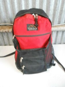 Vintage TRAGER SEATTLE Backpack Day Pack Book Bag Red/Black Canvas Made in USA