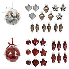 Christmas Decoration - Mini Glass Ornament Baubles - Set of 15 - Choose Colour