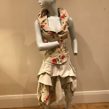 Nicola Russell Boutique Ladies Beige Floral Button Ruffle Dress UK Size 10