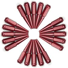 12x1.5mm Thread Pitch Extended Spike Lug Nut Solid Steel Red Finish Set of 20