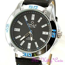 OMAX Waterproof Chunky Black, Silver, Blue Swiss Seiko Movt Leather Watch OAS183