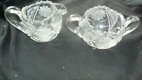 ABP Cut Crystal Etched Flower Open Sugar Bowl And Creamer Pitcher Set ca. 1900's