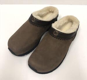 Merrell Womens Shoes Size 8.5 Encore Chill Air Cushion Brown Clogs Faux Fur