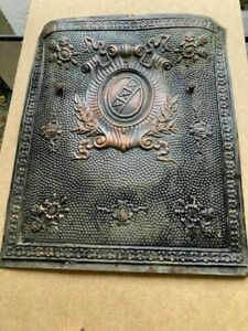 FULL SIZE LATE 1800'S TIN SUMMER FIREPLACE COVER ORNATE DESIGN+COPPER HIGHLIGHTS