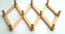 Wooden hanger 10 pegs Expandable  Coat Rack Hat  Hook heavy duty beech wood