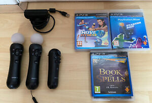 PS3 PS4 VR Move 2 x Motion Wireless Controller Wand + Navigation Controller Plus