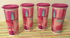 Tupperware Straight Sided Tumblers Set of 4 Pink w/ White 16 oz New