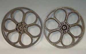"""2 Vintage Goldberg 14.5"""" 35mm Cast Aluminum 6 Hole Movie Theater Film Reel"""