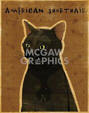 "Golden John W - American Shorthair - Art Print Poster 14"" x 11"" (2258)"