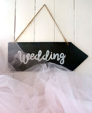 Slate wedding sign, wedding decor, arrow plaque, handcrafted natural slate