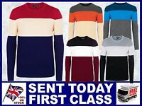 New Men's Colour Match Jumpers Slipover 2020 fitted long sleeve stylish tri-col