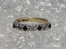 9ct YELLOW GOLD DIAMOND & SAPPHIRE SET ETERNITY RING - SIZE M - Ref 1801.14
