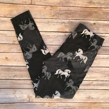 Black Gray Horse Unicorn Women's Leggings PS Plus Size TC 12-20 Super Soft