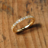 Half Eternity Band Moissanite Wedding 1.7mm EF Matching Band 14k Yellow Gold