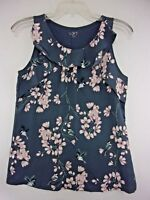 NWT Loft Womens Medium Gray Floral/Bird Print Sleeveless Combo Blouse