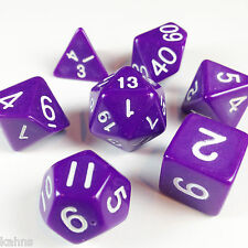 Dice Poly - Opaque Purple  w/ White Numbers -Set Of 7-  Free Bag!  DnD