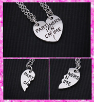 Silver Pair of Partners in Crime Friendship Pendant Chain Necklace ​​UK Seller