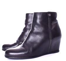 STUART WEITZMAN Slidein Black Leather Hidden Wedge Ankle Boot Size 7.5 M