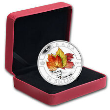 2013 1/2 oz Silver Canadian $10 Painted Maple Leaf Coin - Box and Certificate