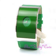 Retro Curved Glass Silver Designer Eames Wide Statement Green Leather Cuff Watch