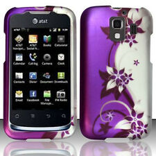 For Huawei AT&T Fusion 2 Rubberized HARD Case Phone Cover Purple Silver Vines