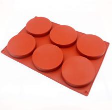 6-Cavity Large Cake Molds Silicone Round Disc Resin Coaster Mold Non-Stick Ba…