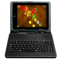 """Black Leather Case Skin Cover with USB Keyboard/Touch Pen for 8"""" Tablet PC"""