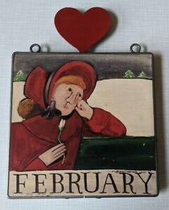 Nancy Thomas 1988 February Hanging Metal Wall Plaque Folk Art Woman Heart Love