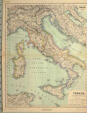 1892 MAP ITALY SARDINIA CORSICA SICILY LUCANIA TUSCANY LIGURIA ROME