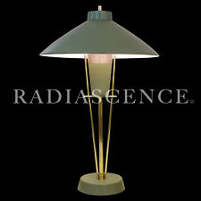 ATOMIC MODERN SPACE JET AGE COOLIE HAT SAUCER BRASS TABLE LAMP LAUREL 1950s