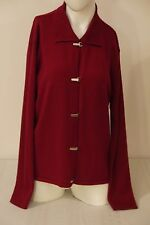 Talbots Women's Cardigan Sweater~Size L~Wine Red~Metal Clasps~Wool Blend~Italy