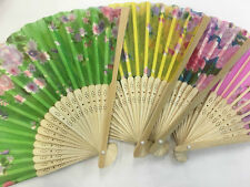 2* Bamboo Silk Fan Hand Folding Fans Outdoor Wedding Party vintage gifts 竹扇 扇�