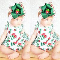 Newborn Baby Girl Romper Jumpsuit Bodysuit Infant Headband Clothes Outfits Set Z