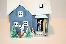 Chinese Craftsmen Wood Music Box Ski House Opening Door Plays Winter Wonderland
