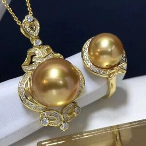 Certified Natural Gold Pearl S925 Silver Inlay Ring Pendant Set Woman Gifts