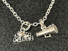 "Cheerleader Love to Cheer Flat Megaphone Charm Tibetan Silver 18"" Necklace"