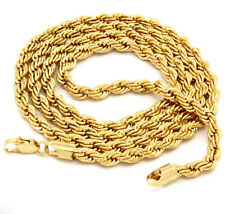"NEW HIP HOP 80'S RAPPERS 14K GOLD PLATED 4MM 24"" ROPE CHAIN NECKLACE"