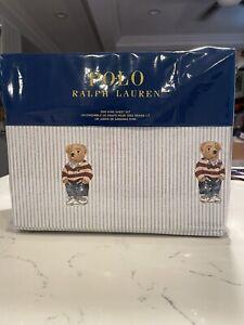 NEW Ralph Lauren POLO BLUE STRIPE Cotton BOY Teddy Bear 4 PC KING Sheet Set
