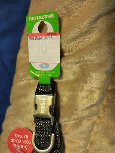 "NEW KONG REFLECTIVE Rope DOG COLLAR Reflective Stitch Gray/Black Small 11""- 14"""