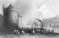 Ireland WATERFORD QUAY HARBOR SAILBOATS REGINALD TOWER, 1839 Art Print Engraving