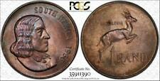 1966 SOUTH AFRICA 1 RAND BU UNCIRCULATED PCGS MS66 TONED ONLY 2 GRADED HIGHER