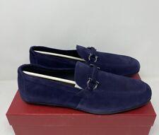 Salvatore Ferragamo Sander Size 12 E Horsebit Navy Logo Suede Loafers