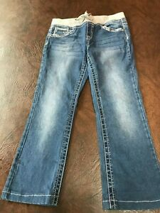 Girl's Size 10 1/2  JUSTICE Jeans Simply Low Skinny Boot  Sequined Pockets