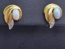 Ohrringe earrings 333 GOLD 8 Karat Gelbgold Ohrstecker Opal Jugendstil Art Deco