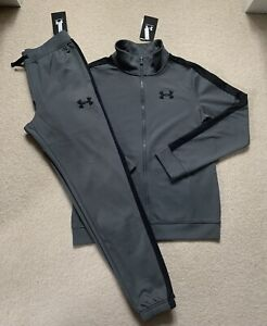 Boys Under Armour Core Poly Tracksuit.100%Authentic. Grey. Size YLG.Age 11-12