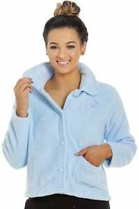 Camille Women's Light Baby Blue Button Up Supersoft Fleece Bed Jacket Top